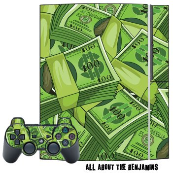 Mightyskins Skin Decal Cover For Playstation 3 Console Two Ps3 Controllers - All About The Benjamins