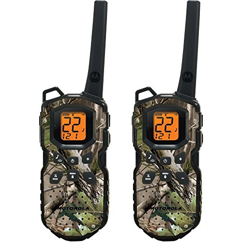 Motorola WATERPROOF 35-Mile FRS/GMRS Two Way Radios (TWO PACK) with NOAA Weather Channels Plus Alerts, PTT Power Boost and QT (Quiet Talk) Interruption Filter & 2 PTT Earbuds with Push-To-Talk Microphone Included, WATERPROOF AND FLOATS, Camouflage Design