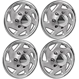 """OxGord 16"""" Inch Hubcaps for Ford Trucks & Cargo Vans E150 E250 E350 Econoline / F150 F250 F350 Set of 4 Pack Auto Wheel Covers, Aftermarket Factory ABS Chrome Silver Replacement w/Removable Center Cap"""