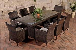 CLP Polyrattan Sitzgruppe AVIGNON BIG (8 Stühle + Tisch 200 x 90 cm) INKL. bequemen Sitzauflagen, aus bis zu 6 RattanFarben wählen braunmeliert  Kundenbewertung: