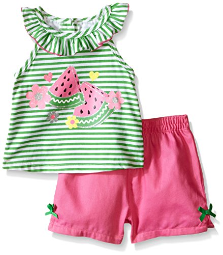 Kids Headquarters Baby Ruffles Around Neck Top with Woven Shorts, Green/Pink, 18 Months