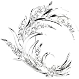 Glamorousky Wheat-like Brooch with Silver Swarovski Element Crystals (1242)
