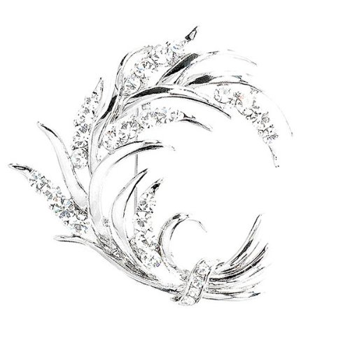 Perfect Gift - High Quality Wheat-like Brooch with Silver Swarovski Crystals (1242) for Birthday Anniversary Free Standard Shipment Clearance