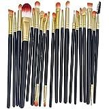 MELADY®20pcs Multi-function Black+Gold Pro Cosmetic Powder Foundation Eyeshadow Eyeliner Lip Makeup Brushes Sets