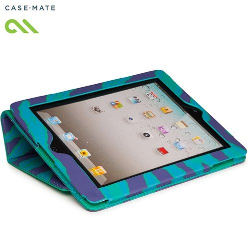 Case-Mate 日本正規品 iPad Retinaディスプレイモデル (第4世代) / iPad (第3世代) / iPad 2 対応 Slim Stand Case Printed Coated Canvas, Emerald Zebra スタンド機能つき ブックタイプ スリムスタンド ケース 「コート キャンバス」 エメラルド ゼブラ CM020407