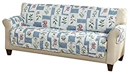 Patchwork Flower Quilted Furniture Cover, Blue, Sofa