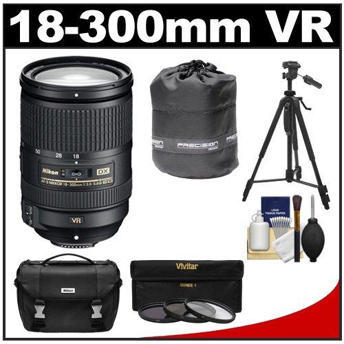Nikon 18-300Mm F/3.5-5.6G Vr Dx Ed Af-S Nikkor-Zoom Lens With 3 (Uv/Nd8/Cpl) Filters + Case + Tripod + Kit For D3100, D3200, D3300, D5100, D5200, D5300, D7000, D7100 Dslr Cameras