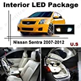 Xenon White LED Lights Interior Package + License Plate Kit for Nissan Sentra 2007-2012 (6 Pcs)