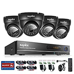 Sannce 8CH Security System 960H CCTV DVR Recorder and (4) 800TVL Outdoor Fixed Dome Cameras with IP66 Weatherproof Day/Night Vision, Motion Detection & Email Alert
