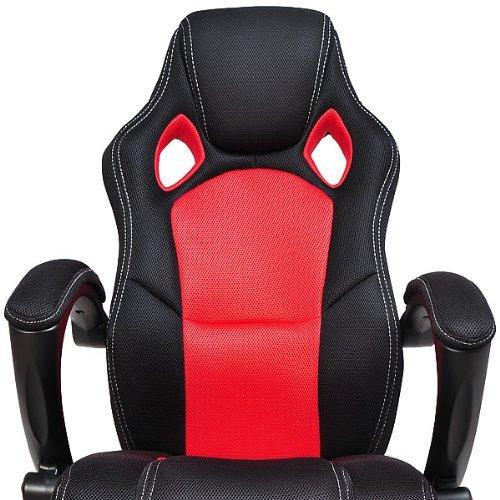 fauteuil de bureau rouge et noir baquet voiture de sport. Black Bedroom Furniture Sets. Home Design Ideas