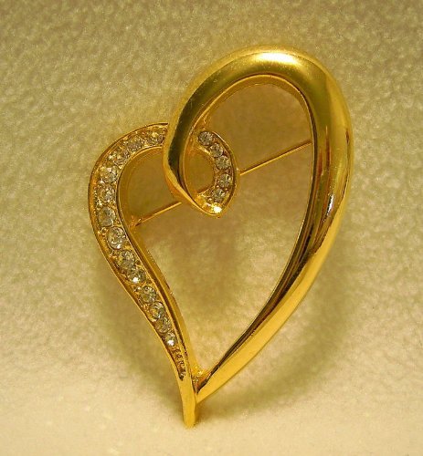 V OPEN HEART DESIGNER QUALITY LOVE GIFT BROOCH PIN WITH RHINESTONES CRYSTALS . .. from Hibiscus Express