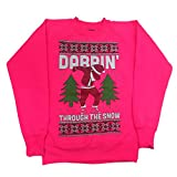 Malaika ® Limited Edition Ugly Christmas Dabbin Through The Snow Womens Sweatshirt Ladies Christmas Dab Sweater Printed Girls Tops Long Sleeve Pullover Jumper FUNNY GIFT (Medium, Neon Pink)