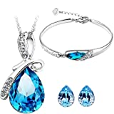 Cyan Bow Style Crystal Jewelry Set Combo With Charming Bracelet for Girls
