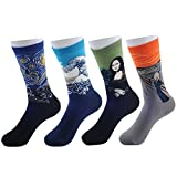 G-LIFE Adult Cotton Retro Character Abstract Painting Crew Socks(4 Pairs)