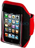 """myLife (TM) Red + Black Velcro Strap (Light Weight Neoprene + Secure Running Armband) for Apple iPod 1st 2nd 3rd and iPod 4/4S 4th Generation iTouch (1G/2G/3G/4G) (Universal One Size Fits All + Velcro Secured + Adjustable Length + Sealed Inside myLife Brand Authorized Packaging + Lifetime Warranty + All Ports and Headphone Jack Accessible + Water Resistant + Min 10.2"""" Max: 17.3"""") """"ADDITIONAL DETAILS: This armband keeps your iPod safe and fits extremely securely inside and is stitch and velcro sealed"""""""