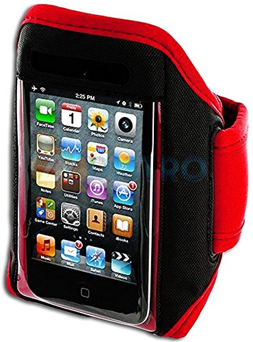 Mylife (Tm) Red + Black Velcro Strap (Light Weight Neoprene + Secure Running Armband) For Apple Ipod 1St, 2Nd, 3Rd And Ipod 4/4S 4Th Generation Itouch (1G/2G/3G/4G) (Universal One Size Fits All + Velcro Secured + Adjustable Length + Sealed Inside Mylife B