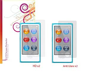 rooCASE Screen Protector Film for Apple iPod Nano 7 (4-Pack x2 Anti-Glare Matte and x2 HD Invisible) (Newest 2012 Model, 7th Generation)