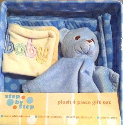 Step by Step Boys Blue Plush 4-Piece Gift Set