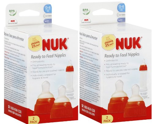 Nuk Ready To Feed Formula Nipples Non-Latex 0-6M (Qty 2 X 2 Packs = 4 Nipples) Colors Vary
