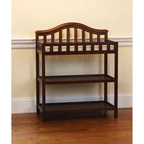 Child of Mine By Carter's Bell Style Changing Table - Chestnut - Nursery Room - Home Furniture's - 2 Spacious Shelves - Solid Wood and Wood Veneer Construction - Elegant Piece of Furniture That Blend Well with Any House Decor by Child of Mine