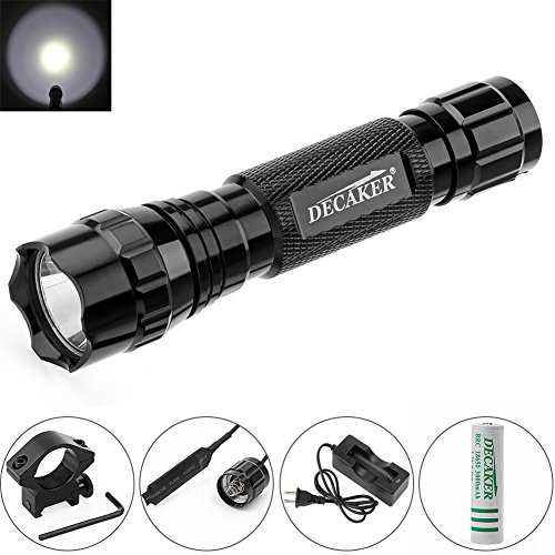 Decaker 501B XM-L T6 1000 Lumens Bright LED Flashlight Torch Tactical FlashLight Lamp + Gun Mount + Remote Pressure Switch + 1 x 18650 Rechargeable Battery + Battery Charger (White Light)