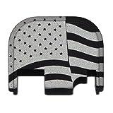 Waving USA American Flag - Glock Plate - Engraved Black Rear Slide Cover Plate