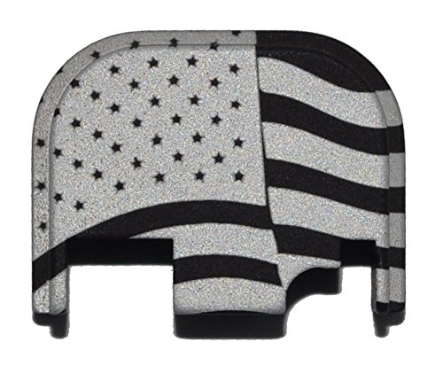Waving USA American Flag - Glock Plate - Engraved Black Rear Slide Cover Plate (Glock 22 Gen Slide compare prices)