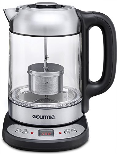 Gourmia GDK290 Electric Glass Tea Kettle With Built In Precise Steeping Tea Infuser, Programmable Time & Temperature Pedestal Control Panel, 2 Quarts (Tea Infuser With Kettle compare prices)