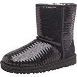 Kids Ugg Girls Classic Short Sparkle Boots Black