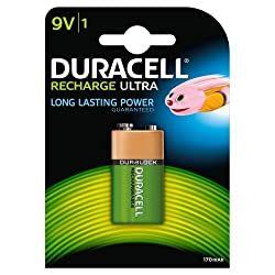 Duracell Rechargeable 9V 170 mAh Batteries--Pack of 1