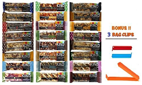 Kind Bar Variety Pack, 24 Pack Sampler, 24 Different Flavors, 1.4 Oz Bars (Bonus!! 3 Bag Seal Clips Free) (Kind Bars With Yogurt compare prices)
