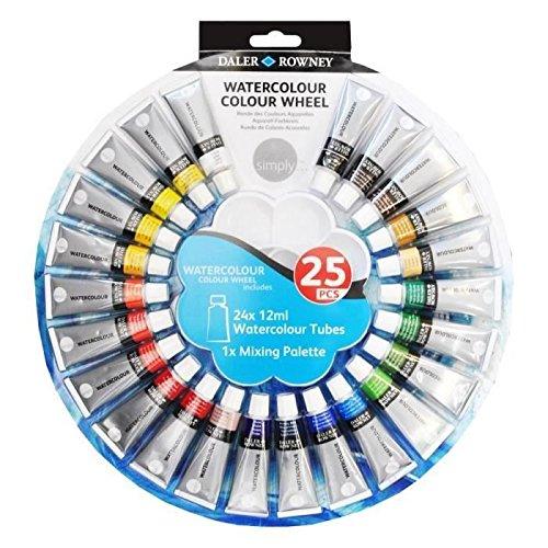 daler-rowney-simply-watercolour-colour-wheel-paint-set-of-24-tubes-of-12ml-colours