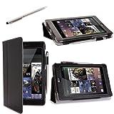 i-BLASON Auto Sleep / Wake Google Nexus 7 inch Tablet 100% Genuine Leather Case Cover / Stylus for 8GB 16GB 3 Year Warranty (Black) ~ i-Blason