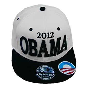 Obama 2012 Snapback Baseball Hat - Democratic President Barack Obama Campaign Gear - Convention Cap (White)