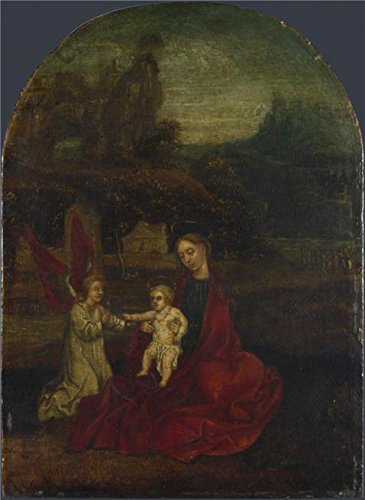 Oil Painting 'German - The Virgin And Child With An Angel In A Landscape,probably 15th Century' Printing On High Quality Polyster Canvas , 18x25 Inch / 46x63 Cm ,the Best Basement Decoration And Home Gallery Art And Gifts Is This Beautiful Art Decorative Prints On Canvas (Target Faux Leather Jackets compare prices)