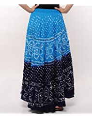 Soundarya Women Cotton Skirts -Blue -Free Size - B00MPU1FJS