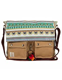 The House Of Tara Printed Canvas Messenger Bag - B00WUD2GQG