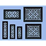 "Antique Recreated Cast Iron Victorian Style Floor. Ceiling, Or Wall Grate For Return Air Intake Or Heat Vents. Floor Register Cover. 2 1/4"" x 10"" (Overall size 3 1/2"" x 12"") Cast Iron Grill without Damper"