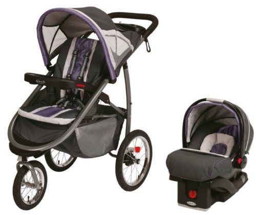 Graco FastAction Jogger Baby Stroller & SnugRide Car Seat Travel Set - Grapeade
