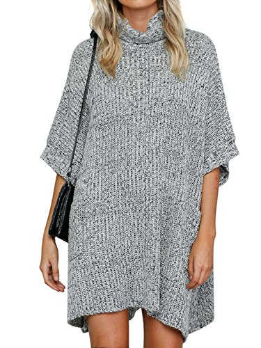 Choies Women Gray Turtleneck Half Sleeve Knit Oversized Tunic Sweater Tops Onesize (Gray Cowl Neck Sweater compare prices)