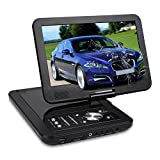 NAVISKAUTO 10.1 Inch 1024*600 HD Portable DVD/CD Player USB/SD Card Reader with 5 Hour Built-In Rechargeable Battery, 270° Swivel Screen, 3m AC/DC Adapter and Customized Car Headrest Mount Case-Black