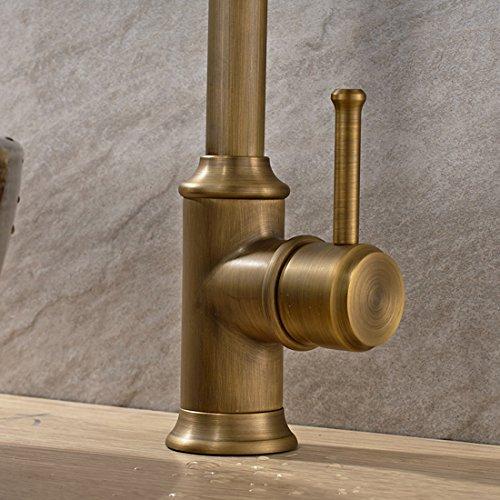 Vintage Deck Mount Single Hanle Control Single Hole Mixer Taps Swivel Lavatory Basin Taps Basic Style Antique Brass Tall Spout Vessel Bathroom Faucet 3