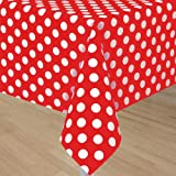 Ruby Red Polka Dots Tablecover (1ct)