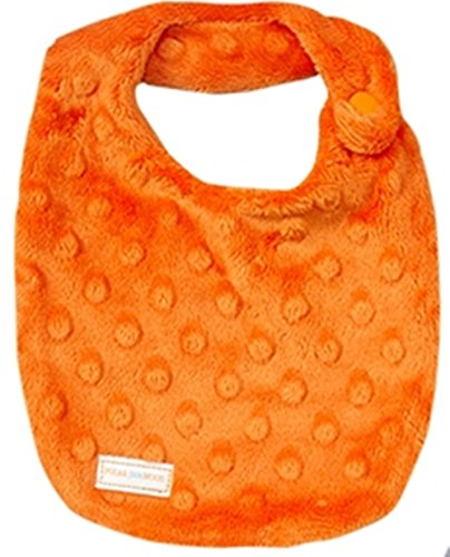 NEWBORN Baby Girl DROOLER Bib - Orange Dimple Minky - 1