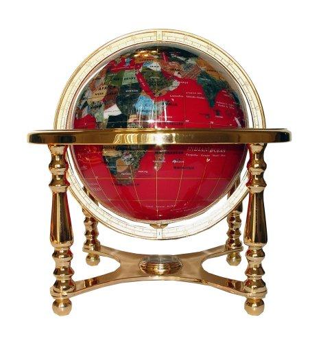 Imagen de Arte único de 13 pulgadas de alto Table Top Red Océano Mundial piedras preciosas Globo de Oro con la base de la pierna 4