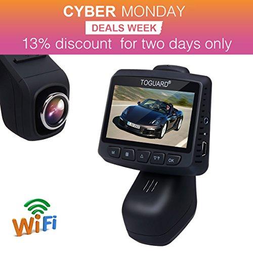 TOGUARD 2,45LCD Wifi Stealth fotocamera da cruscotto FHD 1080P auto DVR Road Registratore, grandangolo, obiettivo Rotante, G-Sensor, registrazione in loop, parcheggio con Monitor