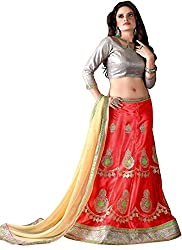 Khushi Trendz Women's Net Semi-Stitched Lehenga Choli Set_KT9182_Multicolored_Freesize
