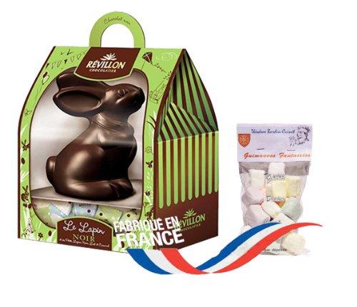 french rabbit dark chocolate and little rabbits 300 gr-le lapin en chocolat noir et ses petits lapins REVILLON + 1 bag of Marshmallows Théodore Bardin-Cuinet