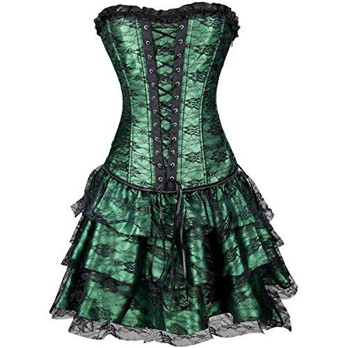 Europa e Royal Abito top Ms t pantaloni tre pezzi pizzo corsetto corpetto corsetto , green , xxl