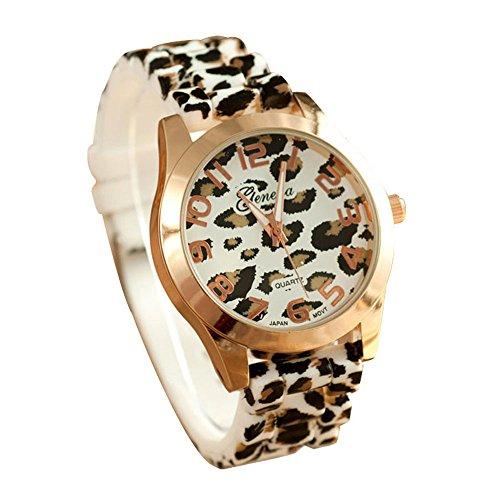Suppion Fashion Unisex Leopard Silicone Jelly Gel Quartz Analog Wrist Watch